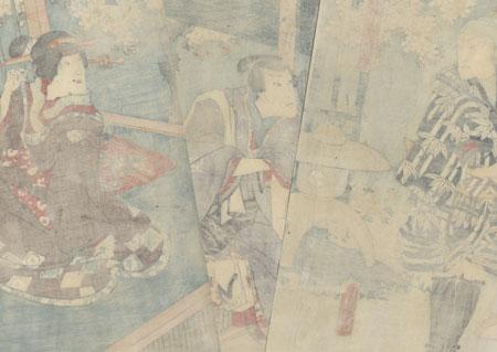 Visitor at a Garden Gate, 1854 by Toyokuni III/Kunisada (1786 - 1864)