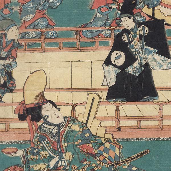 Modern Genji and Two Leaves of Heartvine, 1855 by Toyokuni III/Kunisada (1786 - 1864)