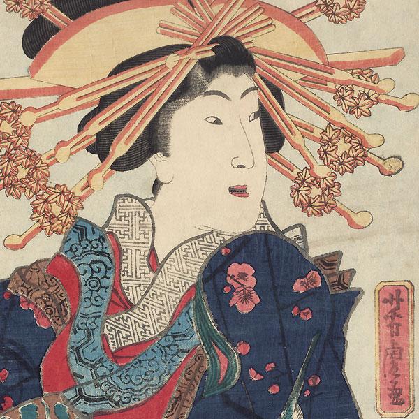 Courtesan in a Blossoming Plum Tree Kimono Kakemono, 1871 by Yoshitora (active circa 1840 - 1880)