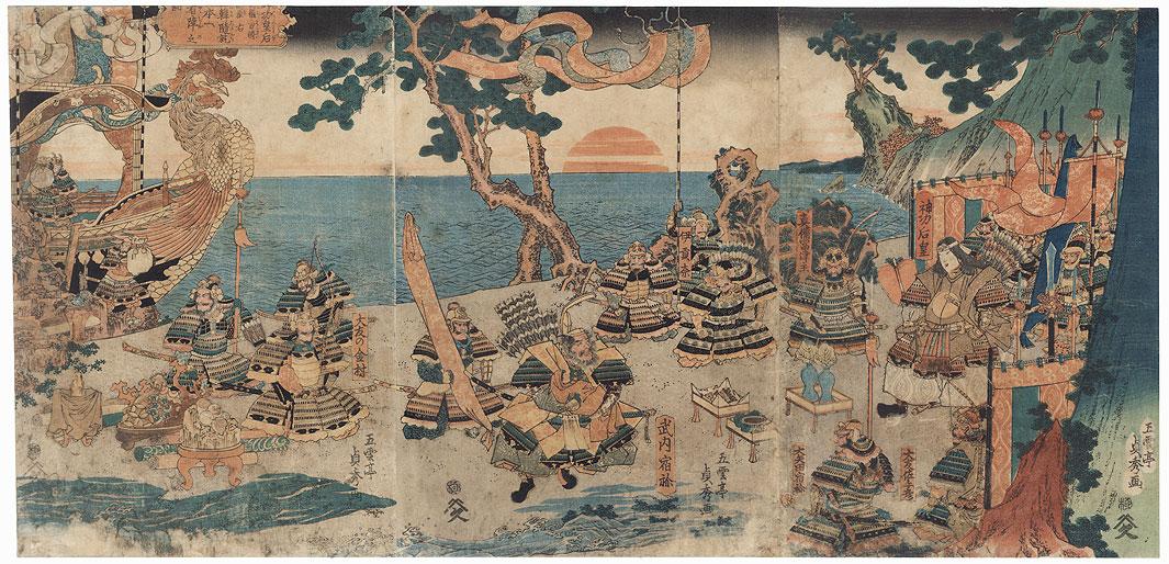 Empress Jingu and Retainers, 1858 by Sadahide (1807 - 1873)