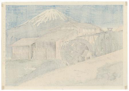 Fuji from the Watermill at the Mouth of Omiya by Tokuriki (1902 - 1999)