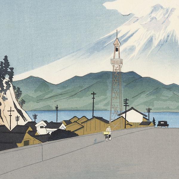 Fuji from Okitsu Beach by Tokuriki (1902 - 1999)