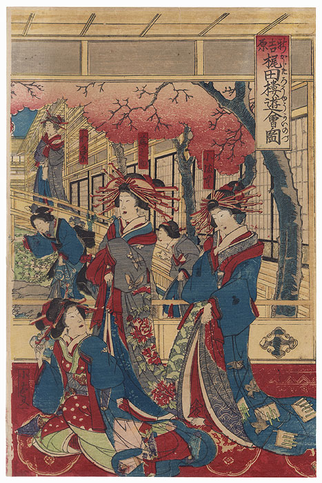 Courtesans in a Teahouse by Meiji era artist (unsigned)