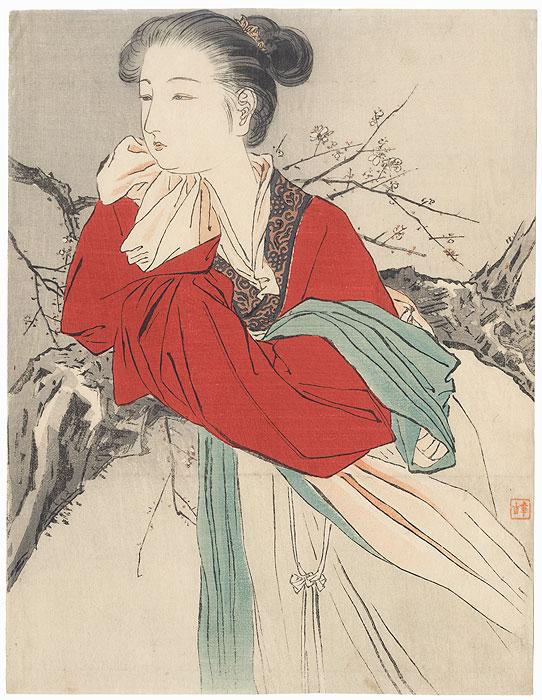 Spirit of Plum Blossoms Kuchi-e Print, 1909 by Kajita Hanko (1870 - 1917)