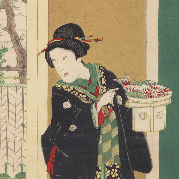 Modern Customs Hakamagi Ceremony, 1895 by Kunichika (1835 - 1900)