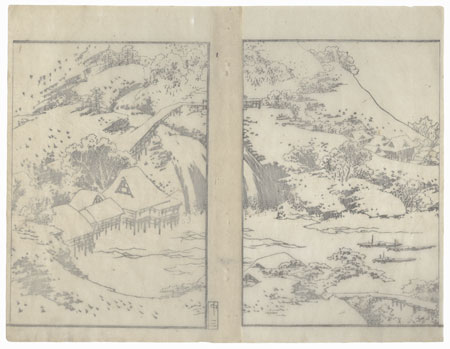 Winter Landscape with Waterfall by Hokusai (1760 - 1849)