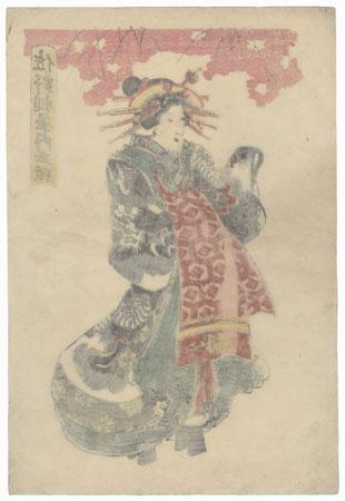 Courtesan in a Dragon Kimono by Edo era artist (unsigned)