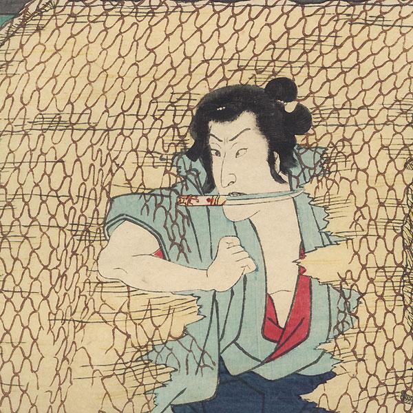 Tsuchiyama: Onoe Kikugoro III as Shirai Gonpachi by Hiroshige (1797 - 1858) and Toyokuni III/Kunisada (1786 - 1864)
