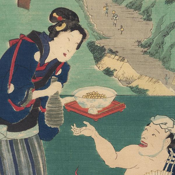 Totsuka: Traveler and Waitress at an Inn by Hiroshige (1797 - 1858) and Toyokuni III/Kunisada (1786 - 1864)