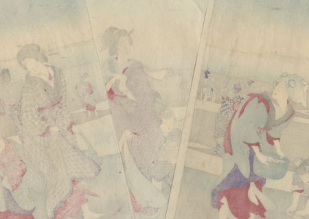March: Gathering Shells, 1890 by Chikanobu (1838 - 1912)