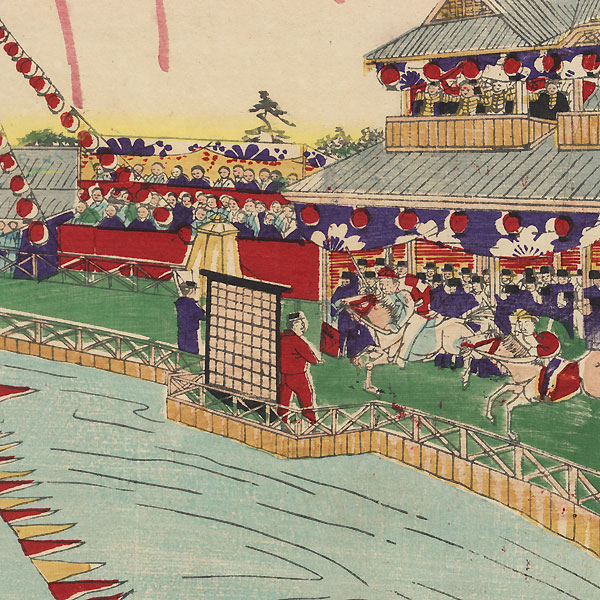 Horse Racing at Shinobazu, 1885 by Meiji era artist (not read)