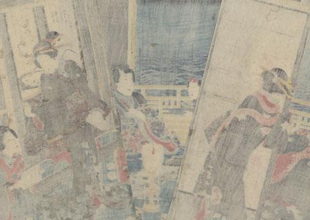 Prince Genji at Sodegaura in Sagami Province, 1855 by Toyokuni III/Kunisada (1786 - 1864)