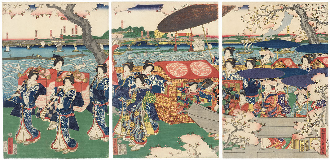 Procession of Beauties along the Sumida River at Mimeguri, 1862 by Sadahide (1807 - 1873)