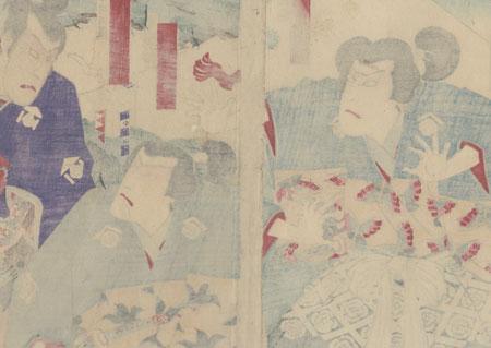 The Soga Brothers Confronting Kudo Suketsune, 1893 by Kunisada III (1848 - 1920)