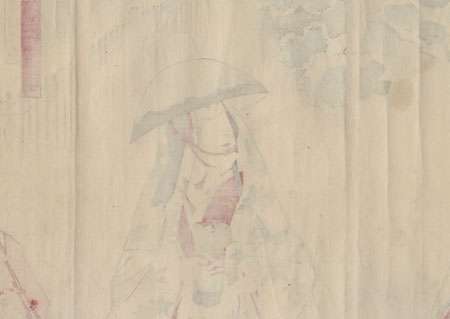 Tokiwa Gozen Fleeing through the Snow, 1897 by Kunichika (1835 - 1900)