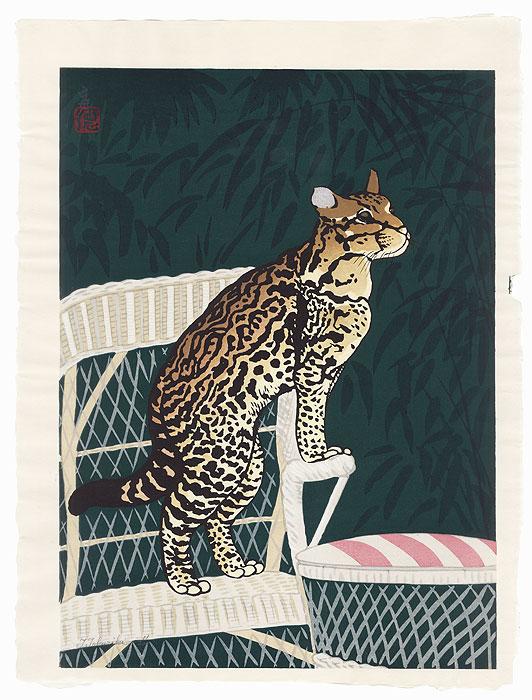 Cat Like a Leopard by Tokuriki (1902 - 1999)