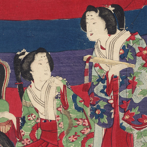 Spring Cherry Blossoming Excursion by Meiji era artist (unsigned)