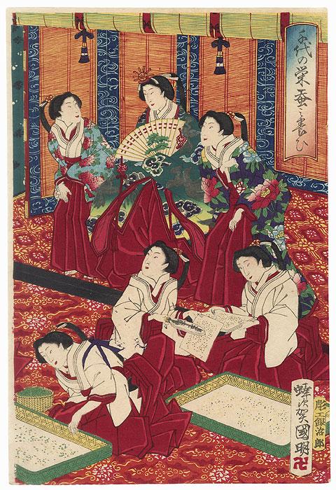 Raising Silk Worms, 1877 by Kuniaki II (1835 - 1888)