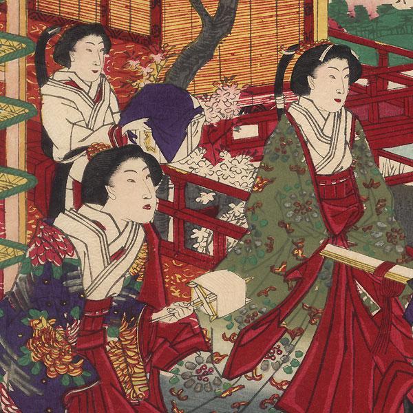 Gathering Silkworm Cocoons and Winding Thread, 1877 by Kuniaki II (1835 - 1888)