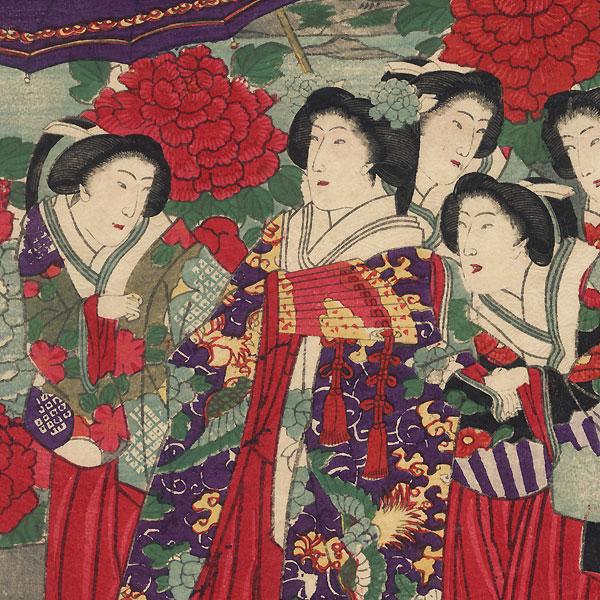 Wisteria and Peony Blossoms by Chikanobu (1838 - 1912)