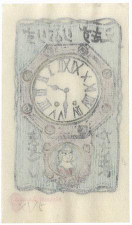 Wall Clock with Portrait Ex-libris by Masashi Kasama