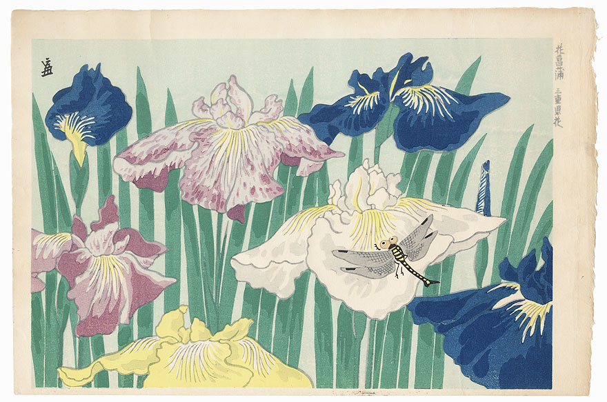Irises and Dragonfly by Tokuriki (1902 - 1999)