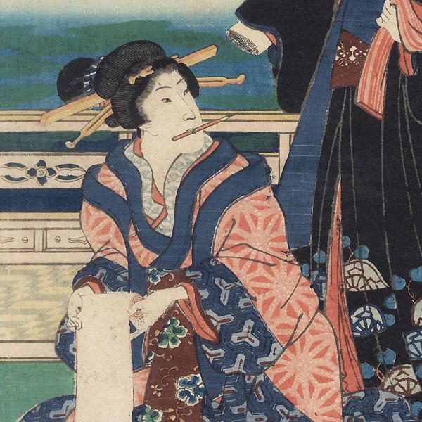 Beauty Writing a Letter by Kuniaki II (1835 - 1888)