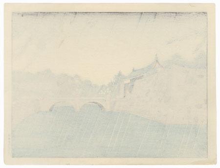 Summer: Rain at Nijubashi by Tokuriki (1902 - 1999)