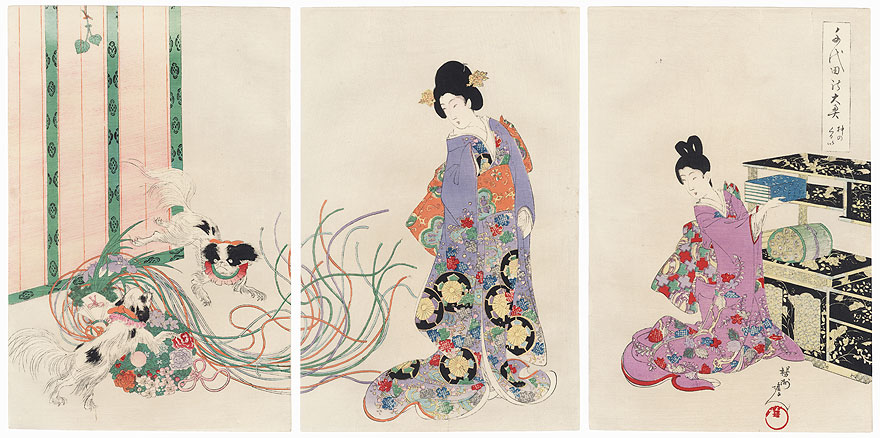 Excited Dogs by Chikanobu (1838 - 1912)