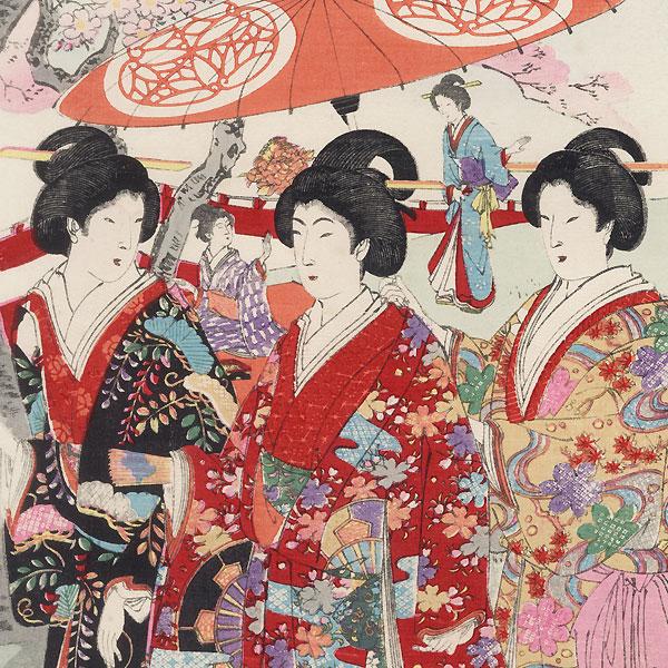 Cherry Blossom Viewing, 1894 by Chikanobu (1838 - 1912)