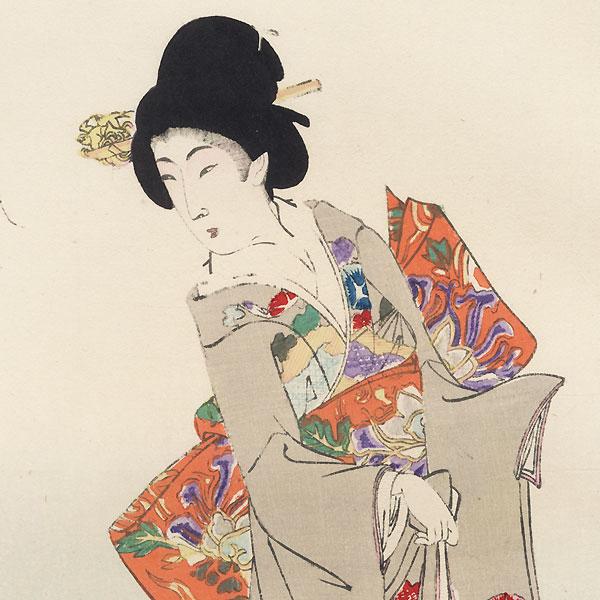 Beauties Watching Koi by Chikanobu (1838 - 1912)