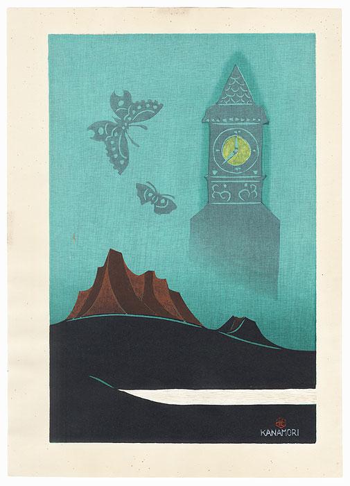 Clocktower and Butterflies, 1977 by Yoshio Kanamori (1922 - 2016)
