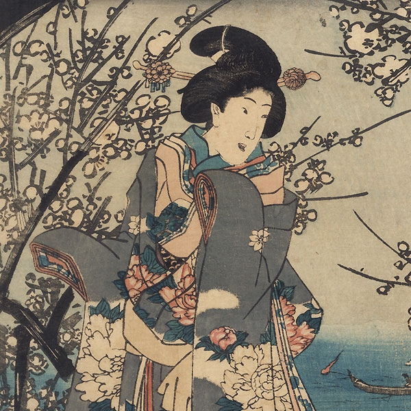 Viewing Plum Blossoms at Night, 1847 - 1852 by Kunisada II (1786 - 1864)