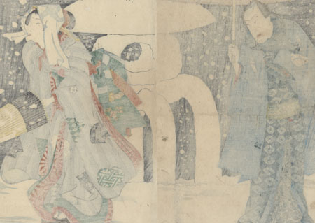 Couple in the Snow by Kunichika (1835 - 1900)