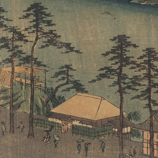 The Kumano Shrine and the Pond of the Twelve Shrines at Tsunohazu in Yotsuya, 1853 by Hiroshige (1797 - 1858)