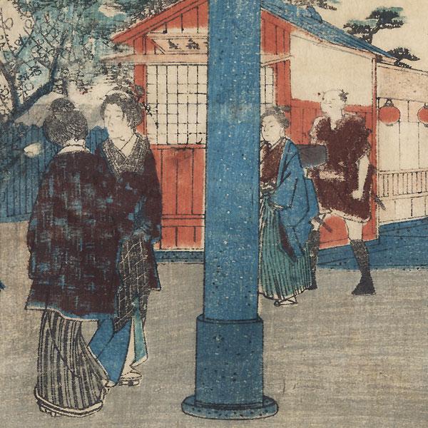 Tenmangu Shrine at Yushima, 1854 by Hiroshige (1797 - 1858)