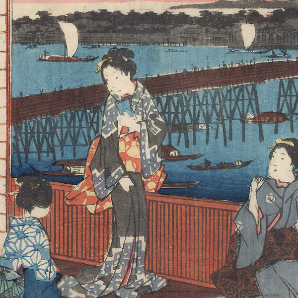 Restaurant with a Distant View of Ryogoku Bridge, 1858 by Hiroshige (1797 - 1858)