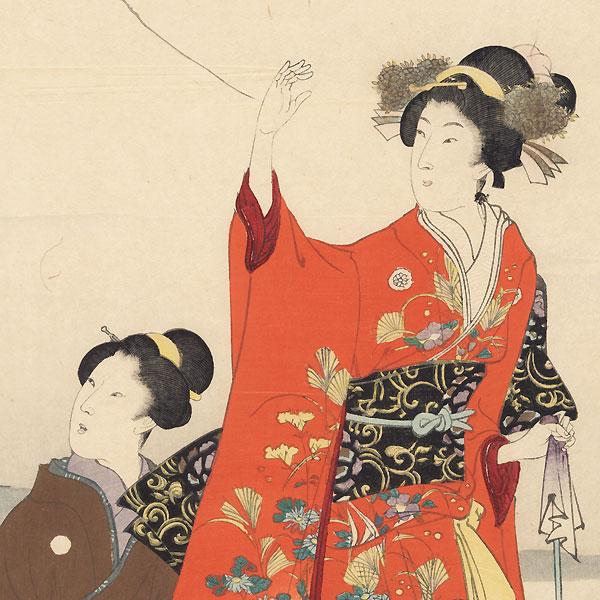 Travelers Pausing to Rest by Chikanobu (1838 - 1912)