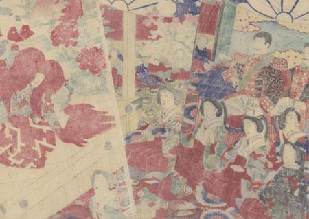 Meiji Emperor Watching Ishibashi, 1880 by Chikanobu (1838 - 1912)