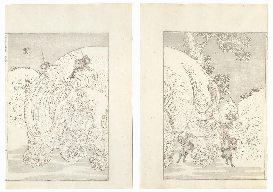 Washing an Elephant by Hokusai (1760 - 1849)