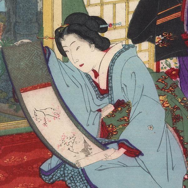 Unrolling a Scroll by Kunichika (1835 - 1900)