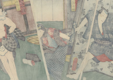 Frightened Beauty and Commoner with a Knife by Toyokuni III/Kunisada (1786 - 1864)