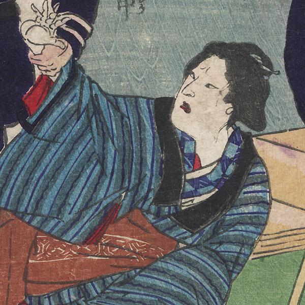 Arresting a Beauty by Yoshitaki (1841 - 1899)