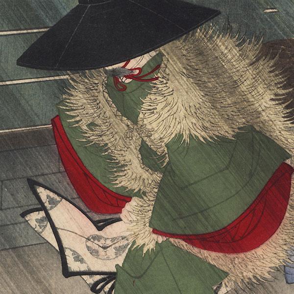 Fujiwara no Narihira in a Storm by Yoshitoshi (1839 - 1892)