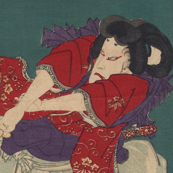 Seascape; Practicing Martial Arts; Poem by Yoshiharu (1828 - 1888)