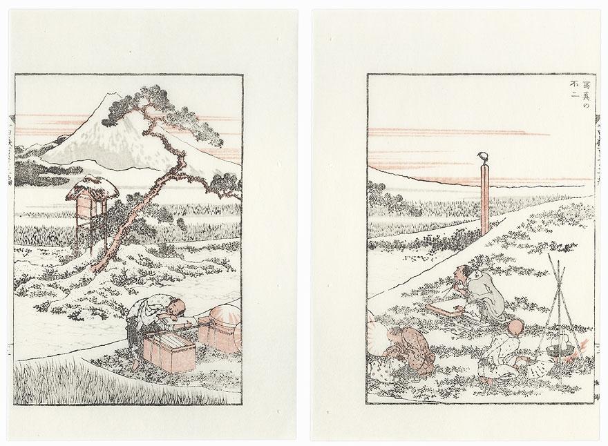 Drawing Fuji from Life by Hokusai (1760 - 1849)