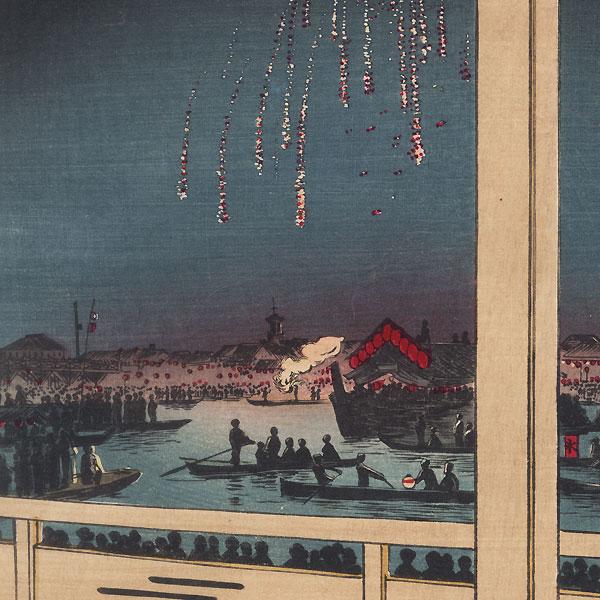 Fireworks at Ryogoku, 1887 by Yasuji Inoue (1864 - 1889)