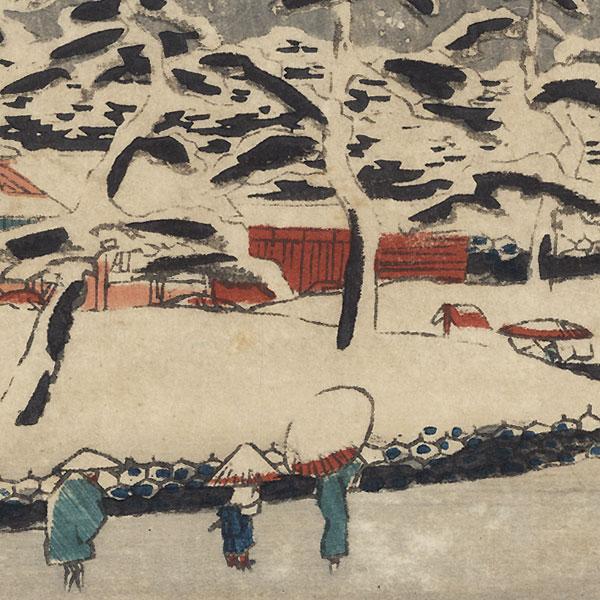 Zojoji Temple at Shiba in Snow, 1847 - 1852 by Hiroshige (1797 - 1858)