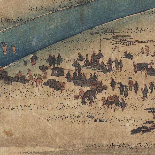 The Suruga Bank of the Oi River near Shimada, circa 1833 - 1834 by Hiroshige (1797 - 1858)