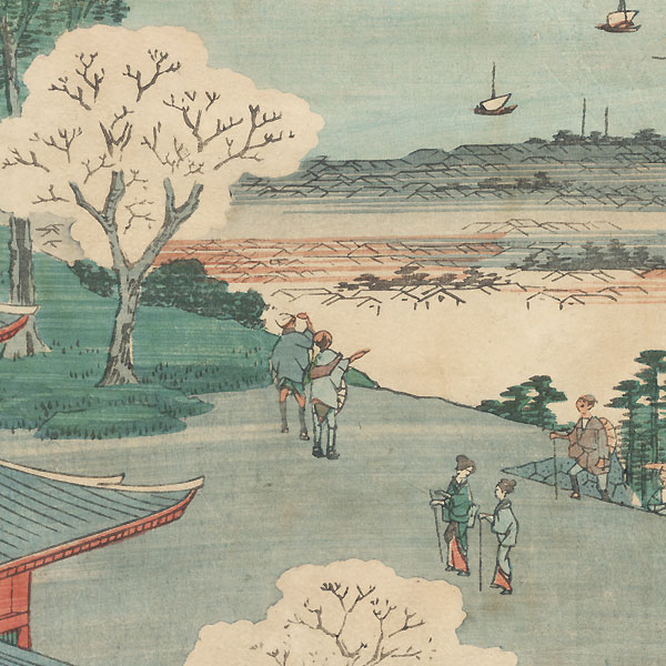 View of Lake Biwa and the Town of Otsu from the Building Dedicated to Kannon at Mii Temple by Hiroshige (1797 - 1858)